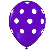 Premium Large Round Latex Party Balloons - Purple Polka Dot