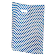 Frosted  Blue Stripe Plastic Merchandise Bag