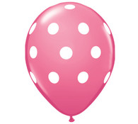 Premium Large Round Latex Party Balloons - Rose Polka Dot