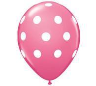 Premium Large Round Latex Party Balloons - Rose Polka Dot