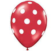 Premium Large Round Latex Party Balloons - Ruby Red Polka Dot