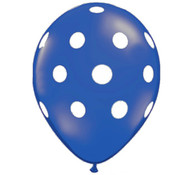 Premium Large Round Latex Party Balloons - Saphire Blue Polka Dot