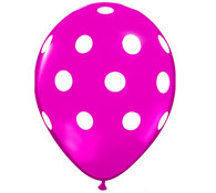 Premium Large Round Latex Party Balloons - Wild Berry Polka Dot