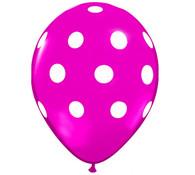 Premium Large Round Latex Party Balloons - Wild Berry Polka Dot
