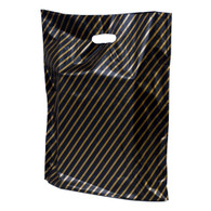 Gold Striped Plastic Merchandise Bag