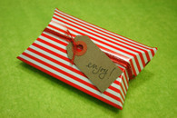 Pillow Boxes -Red Striped 3 1/2 x 3 x 1 Inches