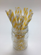 Lemon Yellow Stripe Paper Drinking Straws - made in USA