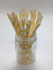 Lemon Yellow Stripe Paper Drinking Straws - made in USA
