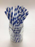 Denim - Royal Stripe Paper Drinking Straws - made in USA