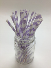 Lilac Stripe Paper Drinking Straws - made in USA