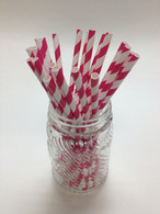 Raspberry Pink Stripe Paper Drinking Straws - made in USA