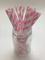 Cotton Candy Pink Stripe Paper Drinking Straws - made in USA