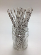 Elephant Grey Shimmer Pencil Stripe Paper Drinking Straws - made in USA