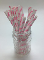 Cotton Candy Pink Pencil Stripe Paper Drinking Straws - made in USA