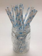 Baby Blue Dot Paper Drinking Straws - made in USA