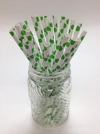 Grass Green Dot Paper Drinking Straws - made in USA