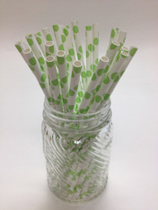 Lime Green Dot Paper Drinking Straws - made in USA
