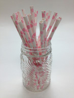 Light Pink Dot Paper Drinking Straws - made in USA