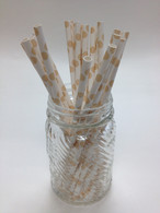 Latte - Ivory Dot Paper Drinking Straws - made in USA
