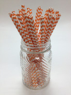 Pumpkin Orange Chevron Paper Drinking Straws - made in USA
