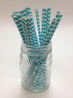 Deep Aqua Chevron Paper Drinking Straws - made in USA