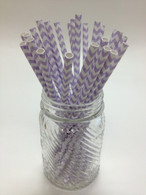 Lilac Chevron Paper Drinking Straws - made in USA
