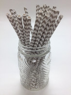 Elephant Grey Chevron Paper Drinking Straws - made in USA