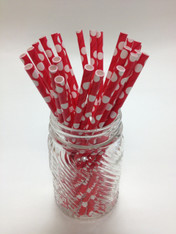 Reverse Red Dots Paper Drinking Straws - made in USA