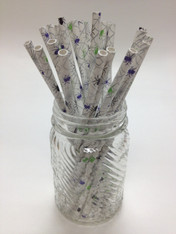 Halloween Purple Green Spiders Pattern Paper Drinking Straws - made in USA