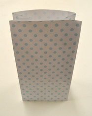 Aqua Polka Dot Flat Bottom Paper Merchandise or Lunch Bags - 5 x 3 x 8 Inches