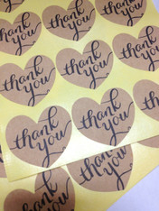 Heart Thank You Stickers - Brown Kraft - 1.5 Inch