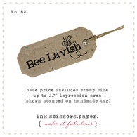 Customized Red Rubber Wood Stamp - Simple Text and Buzzing Bee Design