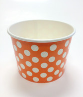 Ice Cream Cups Orange Polka Dots 16 oz. Paper