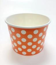 Ice Cream Cups Orange Polka Dots 16 oz. Paper