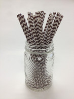 Chocolate Brown Chevron Paper Drinking Straws - made in USA