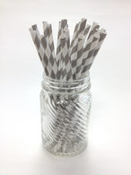 Pewter Shimmer Stripe Paper Drinking Straws - made in USA