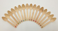 Wooden Spoons - 25 Pieces - Eco Natural - Small Heart in Color Choice