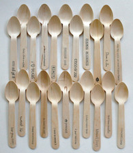 "1000 Wooden Utensils - 4.5"" Length - Standard and Custom Phrases"