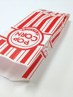 "Vintage Style Striped Popcorn Bags - Red and White - Gusseted 3 3/4"" x 1 3/4"" x 9 1/2"""