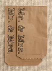 Mr. and Mrs. Favor or Merchandise Bags - Recycled Brown Kraft