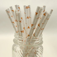 UT Austin Logo Paper Drinking Straws - made in USA