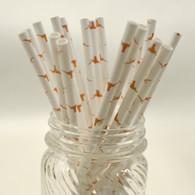 UT Austin Logo Paper Drinking Straws - made in USA