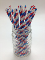 Red White Blue Stripes Paper Drinking Straws - made in USA