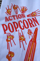 Vintage Style Action Large Popcorn Bags - Red and Yellow Rocket - Gusseted 4 1/2 x 1 1/4 x 12 Inches - set of 25
