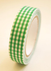 Fabric Deco Tape Christmas Green and White Gingham - F96