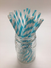 Aqua Blue Stripe Paper Drinking Straws - made in USA