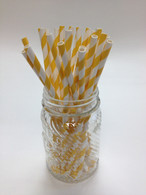 Banana Yellow Stripe Paper Drinking Straws - made in USAs
