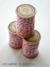 Packaging Twine - Lipstick Pink - 30 Yards on Wooden Spool