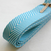 Chevron Twill Herringbone Ribbon - Aqua and White 3/4 Inch Width