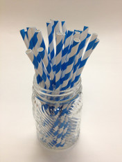 Bright Blue Stripe Paper Drinking Straws - made in USA
